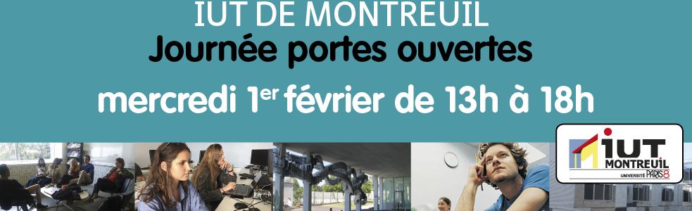 Portes ouvertes à l'IUT de Montreuil – mercredi 1er février 2017 de 13h à 18h